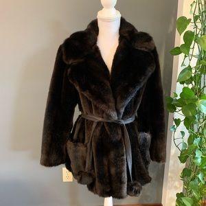 Vintage Leather & Faux Fur Coat~Size Small-Medium